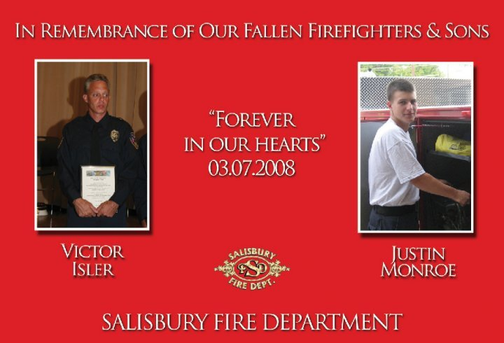 memorial photos of Victor Isler and Justin Monroe